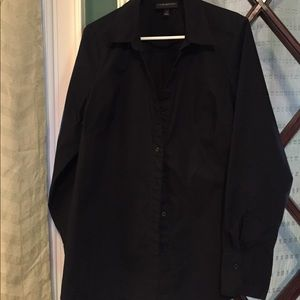 Black button up long sleeve top