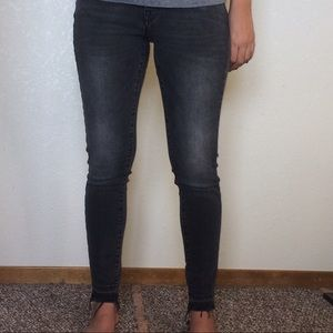 Tight Frayed Black Jeans