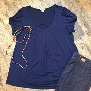 one clothing Tops - One Clothing Plus 3x Soft Flattering Drapy Navy T