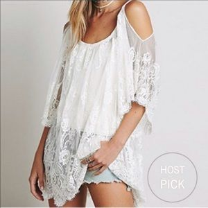 Tops - White Lace Scalloped Hem Top Bathing Suit Coverup