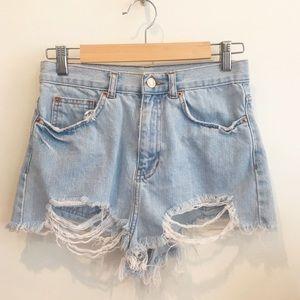 Topshop Pants - Topshop Moto high waisted cheeky jean shorts