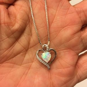 Jewelry - Sterling Silver Lab Opal Heart Necklace with CZ