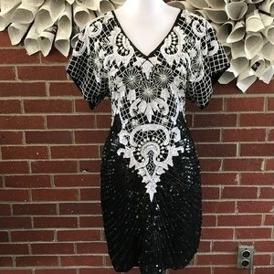 Vintage 100% silk beaded s/s dress Open Back