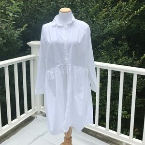 Monki oversize white cotton shirt dress
