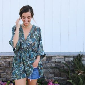 Tops - green floral tunic