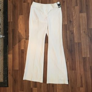 White Trousers with Gold & Silver Pinstripes