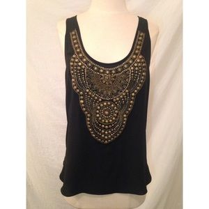 Adam by Adam Lippes Tops - ADAM LIPPES Black Silk Hand Beaded Tank Top Sz 8