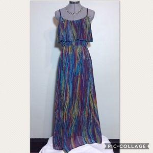 As U Wish Dresses & Skirts - As U Wish Colorful Maxi Dress with Sheer Bottom