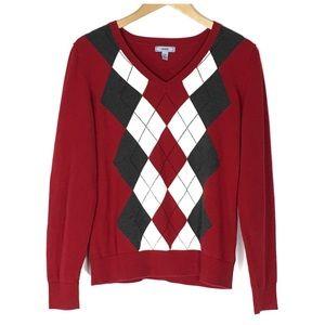 Izod Sweaters - Red/Gray/Ivory Argyle Izod V-Neck Sweater Large