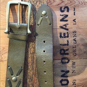 Linea Pelle Accessories - Linea Pelle army green studded belt