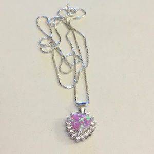 Jewelry - Sterling Silver Pink Lab Opal Heart ❤️ Necklace