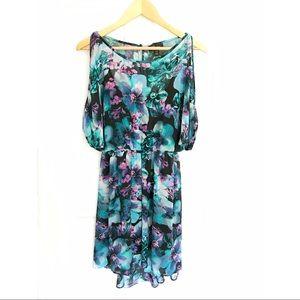 Thalia Sodi Dresses & Skirts - Thalia Sodi blue/green cold-should low-high dress