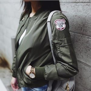 Army Green Bomber Jacket with Patches 