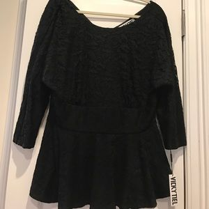 vicky tiel Tops - Vicky tiel lace blouse 16 w new with tags