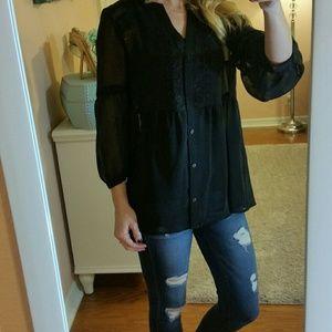 Lauren Conrad Tops - LAUREN CONRAD BLACK SHEER BUTTON UP BLOUSE