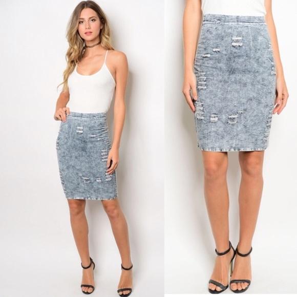 a55b84403df2 Skirts | High Waist Acid Wash Denim Skirt | Poshmark
