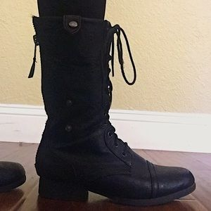 Shoes - Black Leather Cargo Boots🖤