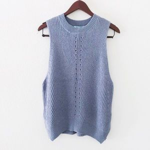 She and Sky Tops - slate blue knit summer top