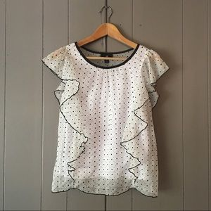 Amy Byer Other - White with black polka dots ruffle top✨