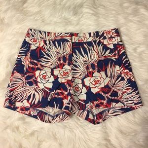 FLORAL RED WHITE AND BLUE J.CREW SHORTS