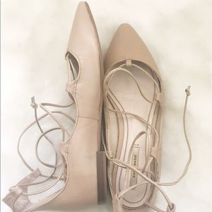 Zara pointed Nude Lace up flats size 6