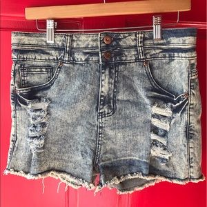 J Key Pants - Distressed Denim Shorts