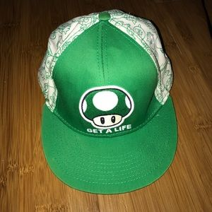 Nintendo Other - Get a life green mushroom snap back hat flatbill