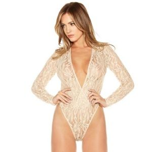 Naked Wadrobe Tops - Top-Sheer Lace Body Suit