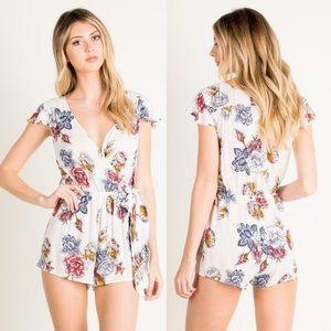 IRENE Floral Print Romper - WHITE