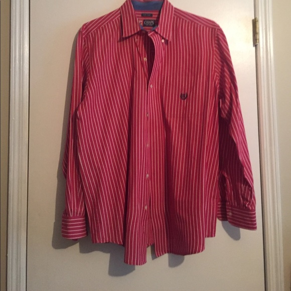 78 off chaps other chaps red and white stripe button for Red and white striped button down shirt