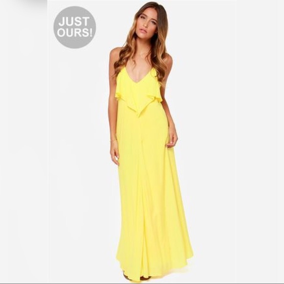 LuLu's Yellow V Neck Backless Maxi Summer Dress