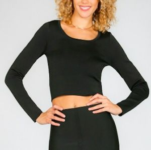 WOW couture Tops - Wow Couture Black Long Sleeve Basic Crop Top