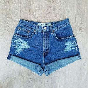 Vintage Pants - Vintage High Waisted Distressed Shorts