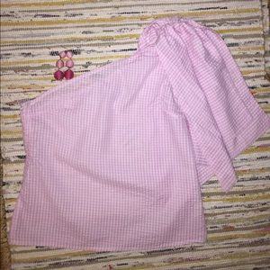 Pink and White gingham one shoulder top! S, M, L
