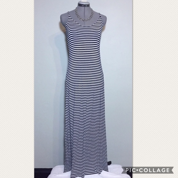 forever 21 f21 black amp white stripe jersey maxi dress