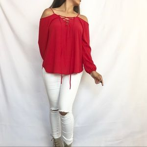 Tops - • Off the Shoulders Lace-Up Blouse •