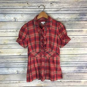 Odille Anthro Sunday Supper Red Plaid Blouse