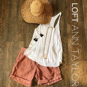 LOFT Pants - LOFT Ann Taylor Linen Shorts Clay 0