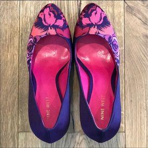 Nine West Purple flowered high heels
