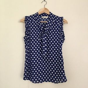 Comme Toi Tops - Modcloth Floral Pattern Sleeveless Ruffle Edge Top