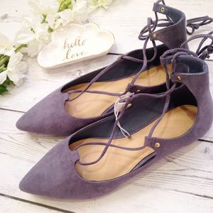 Old Navy Shoes - NWT Periwinkle Pointed Lace Up Flats