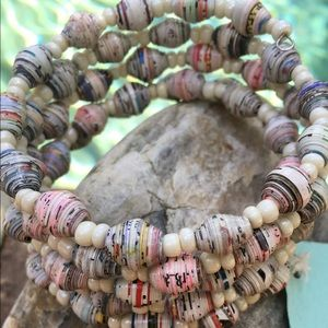 Jewelry - NWT Cream Kenyan Recycled Paper Bead Bracelet