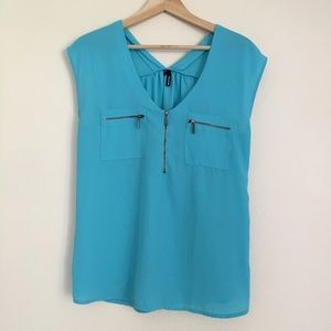 Maurices Tops - Maurice's Teal Sleeveless Blouse Zipper Pockets