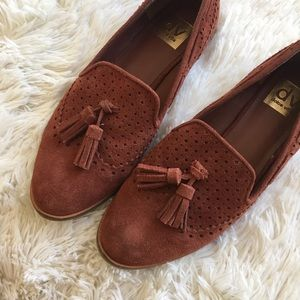 DV by Dolce Vita Shoes - Dolce Vita Tassel Perforated Suede Loafers Flats