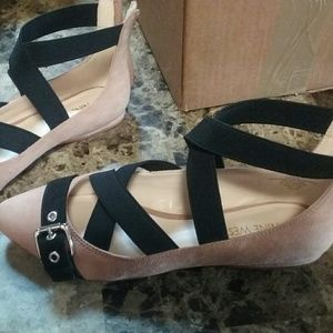 Nine West Shoes - NINE WEST Suede Ballet Strap Buckle Flats 6