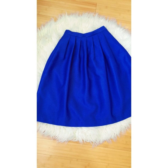 57 dresses skirts electric blue pleated skirt