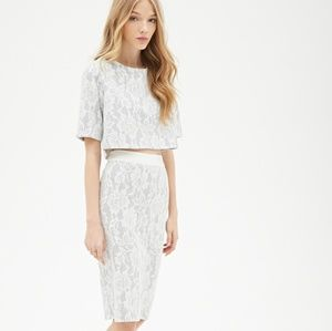 F21 White Lace Pencil Skirt