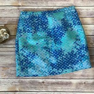 Turquoise blue + silver metallic mini skirt size 8