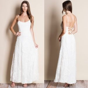 Backless White Lace Maxi Dress