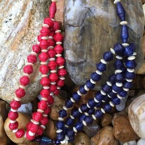 NWT Patriotic Recycled Paper Bead Kenyan Necklace